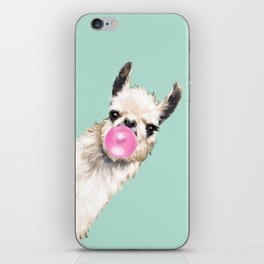 Bubble Gum Sneaky Llama in Green iPhone Skin