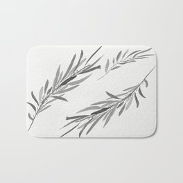Eucalyptus leaves black and white Bath Mat