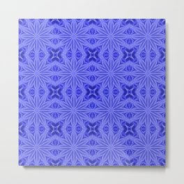 Blue Floral Pattern Metal Print
