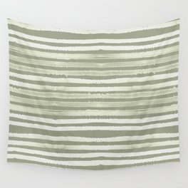 Simply Shibori Stripes Green Tea and Lunar Gray Wall Tapestry