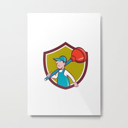 Plumber Carrying Plunger Walking Shield Cartoon Metal Print