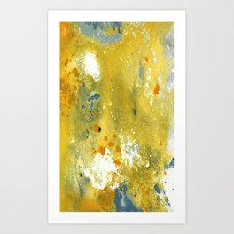 Abstract Acrylic Painting YELLOW Art Print