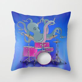 Octopus Playing Drums - Blue Throw Pillow