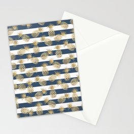 Modern nautical navy blue stripes faux gold pineapple Stationery Cards