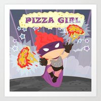superheros Art Prints featuring Pizzagirl by Alapapaju