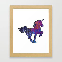 Purple Wooden Unicorn Framed Art Print