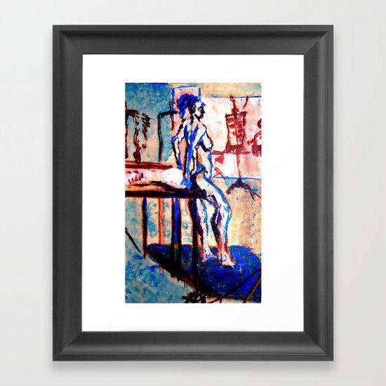 standing life model in blue Framed Art Print