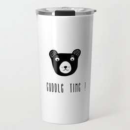 Cuddle time bear black and white illustration Travel Mug