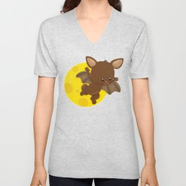 Brown Bat Flying in Front of a Yellow Moon Unisex V-Neck