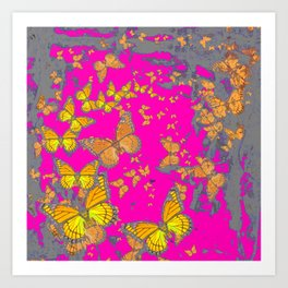 FUCHSIA PINK & GREY BUTTERFLY ABSTRACT ART Art Print