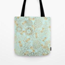Modern teal faux gold pineapple floral illustration Tote Bag