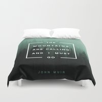 camping Duvet Covers featuring The Mountains are Calling by Zeke Tucker