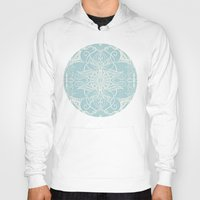 bedding Hoodies featuring Floral Pattern in Duck Egg Blue & Cream by micklyn