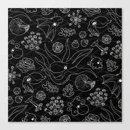 Cephalopods - Black and White Canvas Print