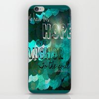 bible verse iPhone & iPod Skins featuring Anchors- Bible Verse by Mermaid94