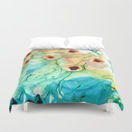 Blue And Yellow Abstract Art - Life Goes On - Sharon Cummings Duvet Cover