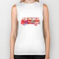 vw Biker Tanks featuring VW Van  by Stacia Elizabeth