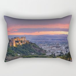 The alhambra and Granada city at sunset Rectangular Pillow