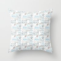 surf Throw Pillows featuring Surf by Zen and Chic