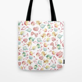 Cute pink green yellow watercolor music notes bird pattern Tote Bag