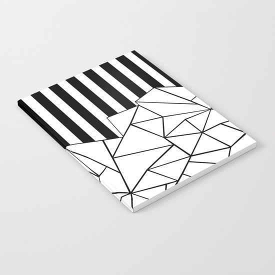 Abstract Outline Stripes Black and White Notebook