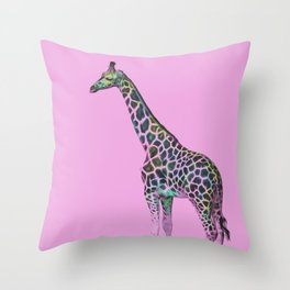 Chromatic Giraffe Throw Pillow