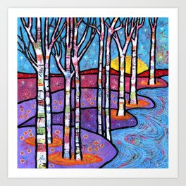 Yellow Moon on the Rise Magical Aspen Forest Art Print