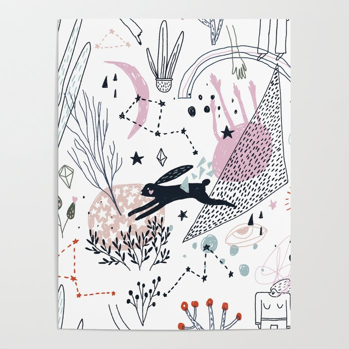 Floral Doodle with a Rabbit Poster