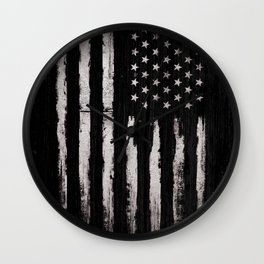 White Grunge American flag Wall Clock