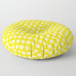 60s Ditsy Daisy Floral in Sunshine Yellow Floor Pillow