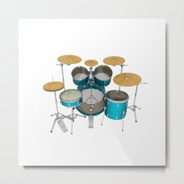 Green Drum Kit Metal Print