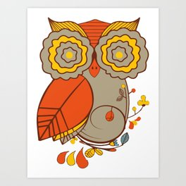 Abstract Colorful Floral Owl, Cute Owl Sticker, Terracotta Colors, Orange Yellow Gray And  Brown Art Print