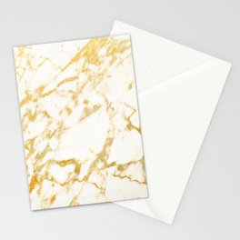 Ivory White Marble With Gold Glitter Ribboned Veins Stationery Cards
