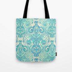 Botanical Geometry - nature pattern in blue, mint green & cream Tote Bag