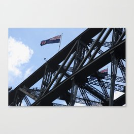 Sydney Harbour Bridge and Flag. Australia. Canvas Print