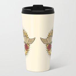 skull symbol tattoo design (crown, laurel wreath, wings, roses and banner) Travel Mug