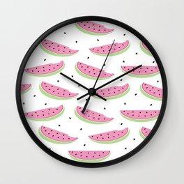Summer Watermelon Watercolor Brushstroke Print Wall Clock