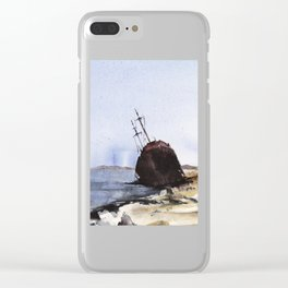 Wreckage on seashore Clear iPhone Case
