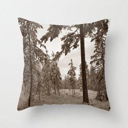 Winter Morning Sepia Throw Pillow