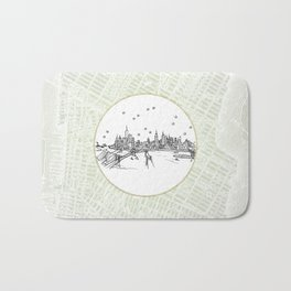 New York, New York City Skyline Illustration Drawing Bath Mat
