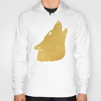 gold foil Hoodies featuring Gold Foil Wolf by Mod Pop Deco