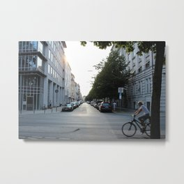 European City Street Biker Metal Print