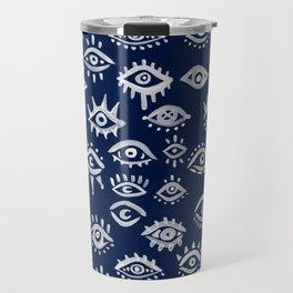 Mystic Eyes – White on Navy Travel Mug