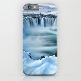 Time Lapse Landscape Photography of a Waterfall in the Snow iPhone Case