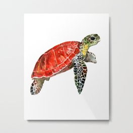Sea Turtle red green turtle design, trutle illustration Metal Print