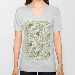 Spring peach flowers & green leafs pattern Unisex V-Neck