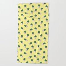 Cute Cactus Yellow Pattern Beach Towel