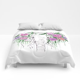 Elephant, Flowers, Rose, Nature Comforters