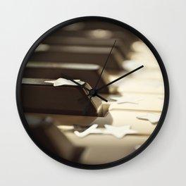 Piano key and stars. Wall Clock