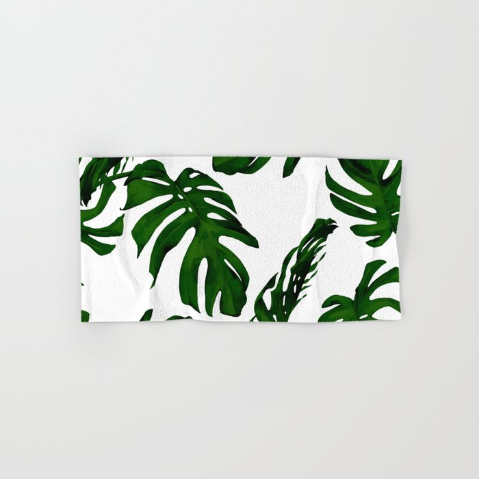 Simply Tropical Palm Leaves In Jungle Green Hand Bath Towel By Followmeinstead Society6